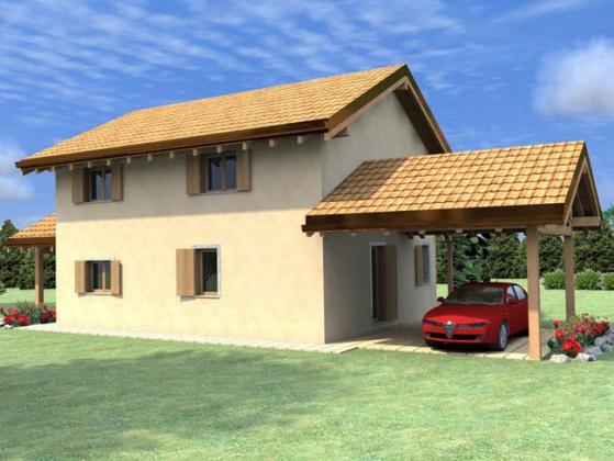 Gruppo progenia progetti villetta con porticato for Appartamento garage prefabbricato a 2 piani